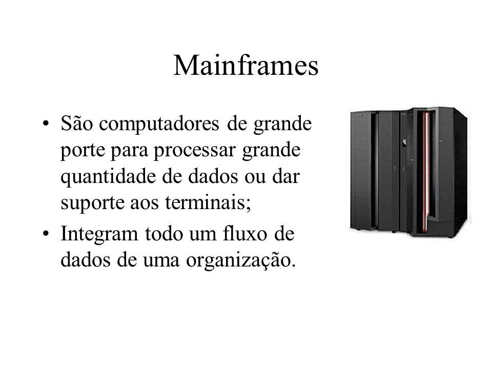 Mainframes São computadores de grande porte para processar grande quantidade de dados ou dar suporte aos terminais;