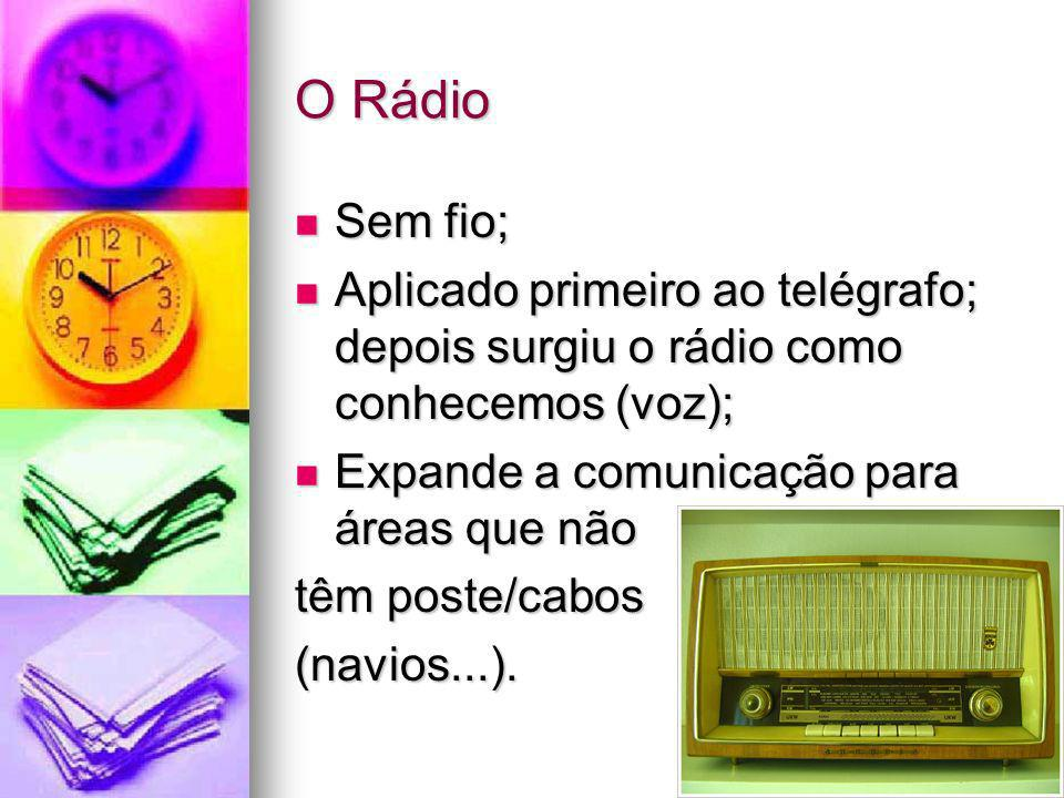 O RádioSem fio; Aplicado primeiro ao telégrafo; depois surgiu o rádio como conhecemos (voz); Expande a comunicação para áreas que não.
