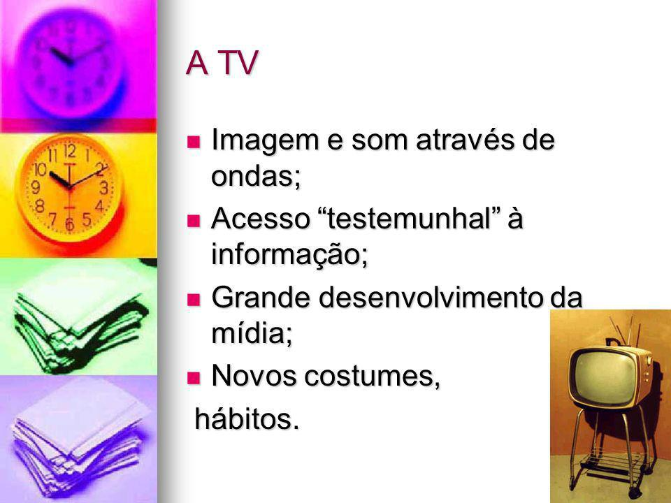 A TV Imagem e som através de ondas; Acesso testemunhal à informação;