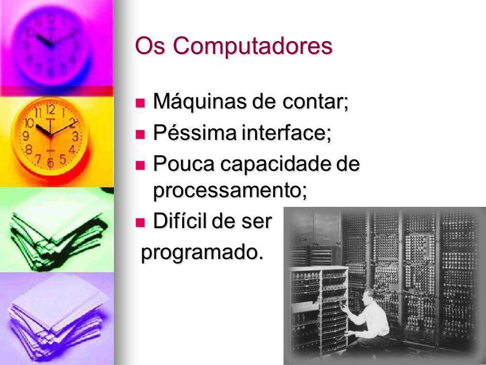 Os Computadores Máquinas de contar; Péssima interface;