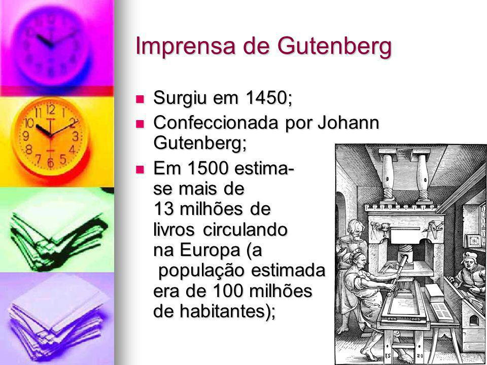 Imprensa de Gutenberg Surgiu em 1450;