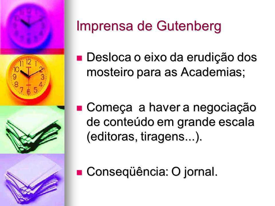 Imprensa de GutenbergDesloca o eixo da erudição dos mosteiro para as Academias;