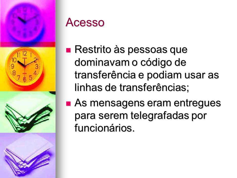 AcessoRestrito às pessoas que dominavam o código de transferência e podiam usar as linhas de transferências;