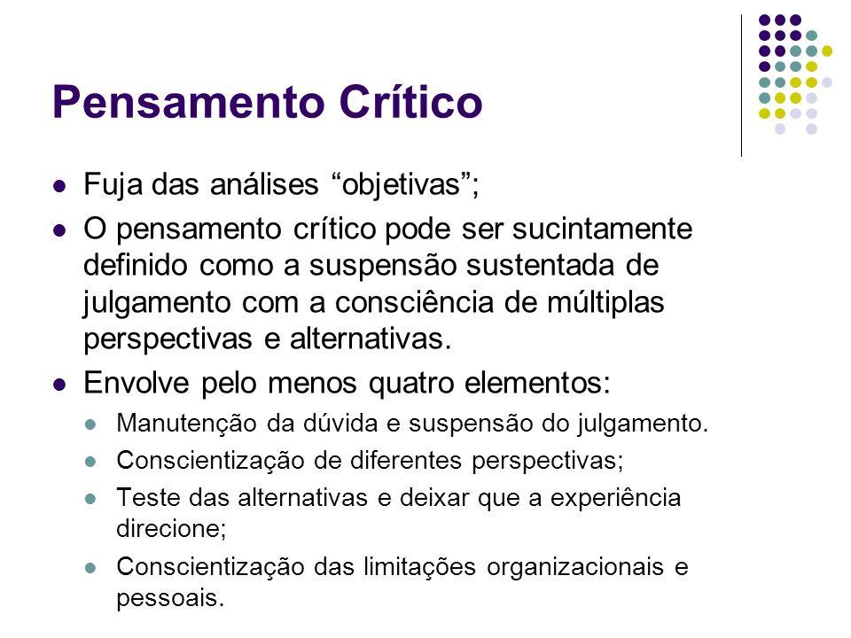 Pensamento Crítico Fuja das análises objetivas ;