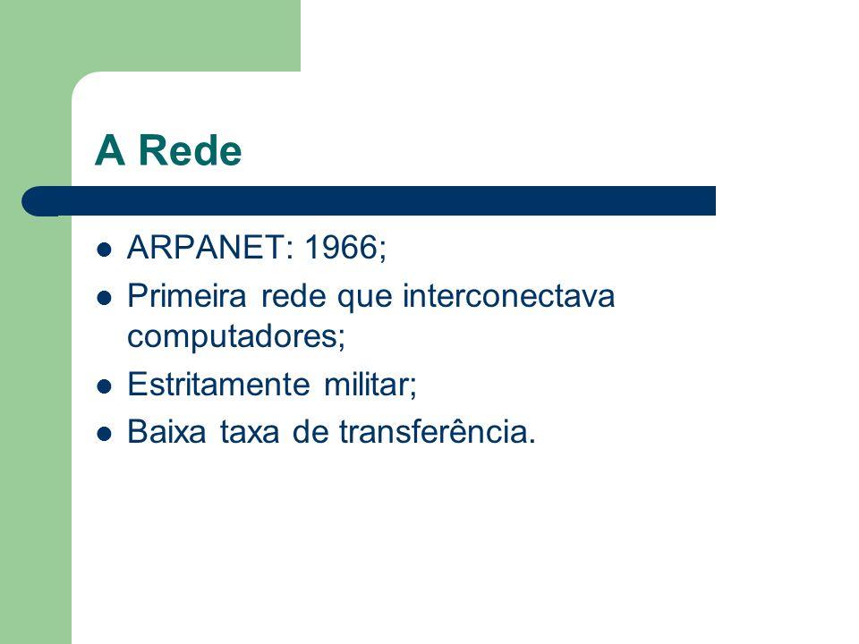 A Rede ARPANET: 1966; Primeira rede que interconectava computadores;