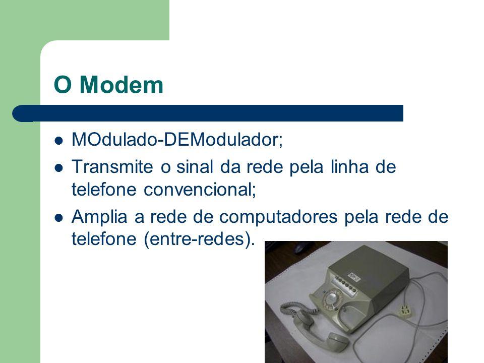O Modem MOdulado-DEModulador;