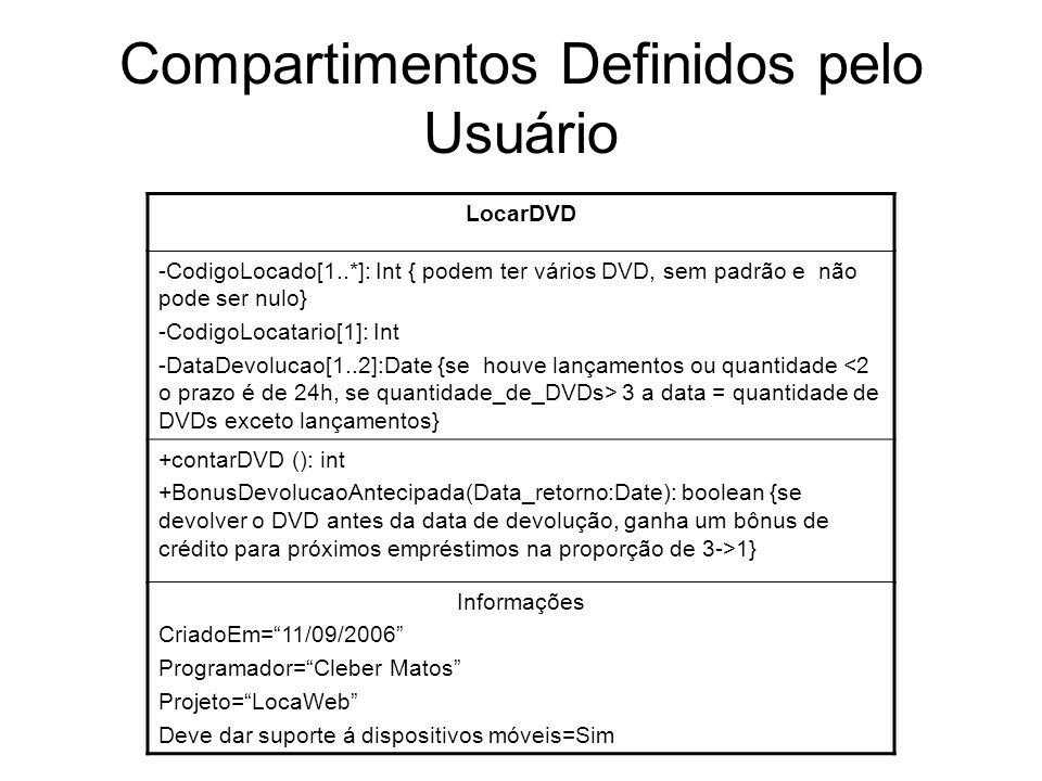 Compartimentos Definidos pelo Usuário
