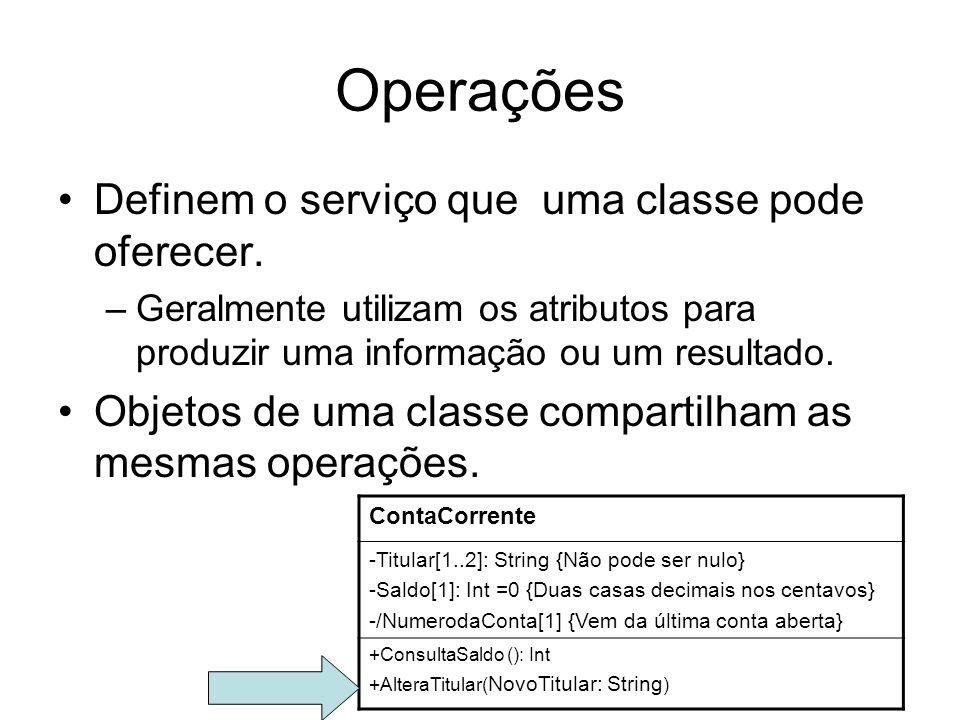Operações Definem o serviço que uma classe pode oferecer.