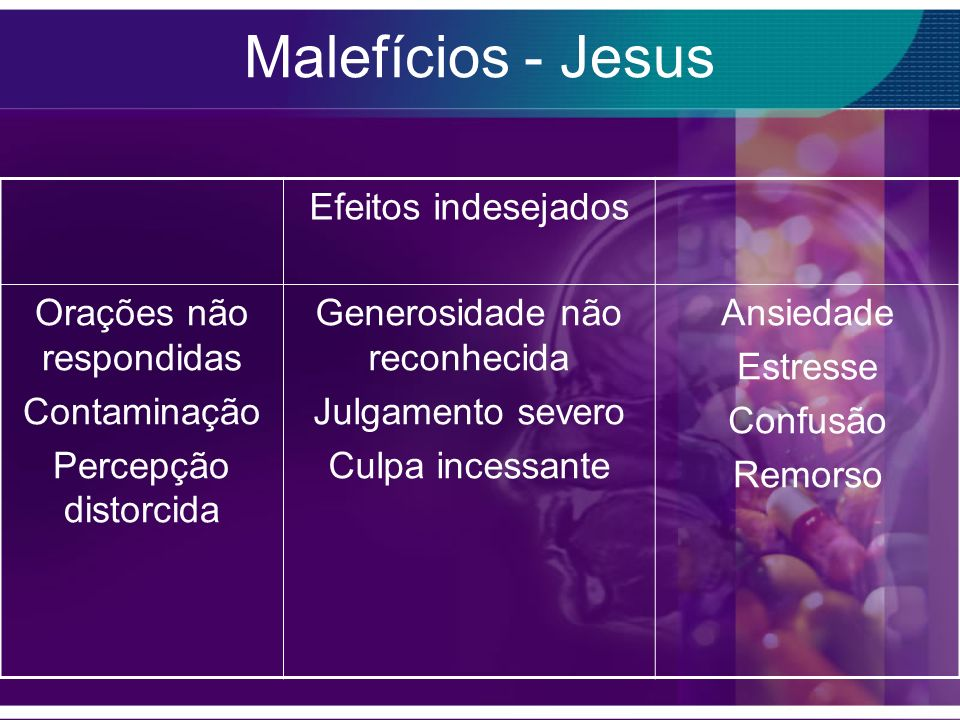 Malefícios - Jesus Efeitos indesejados Orações não respondidas
