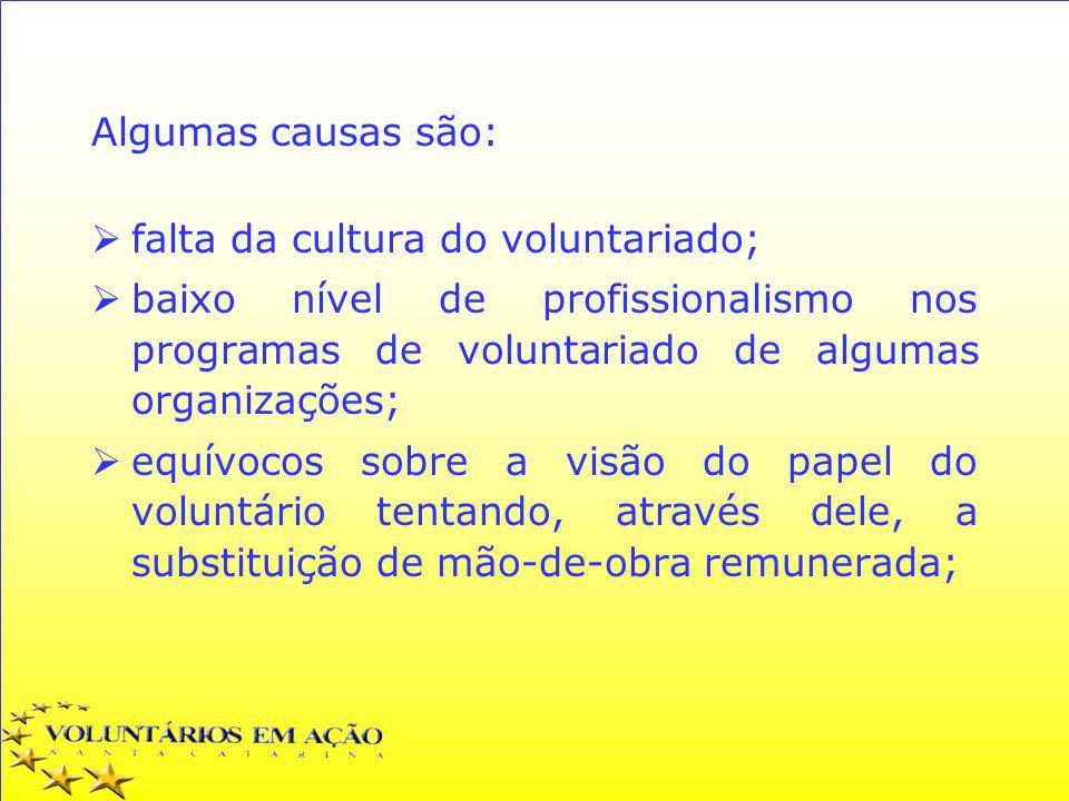 Algumas causas são: falta da cultura do voluntariado; baixo nível de profissionalismo nos programas de voluntariado de algumas organizações;