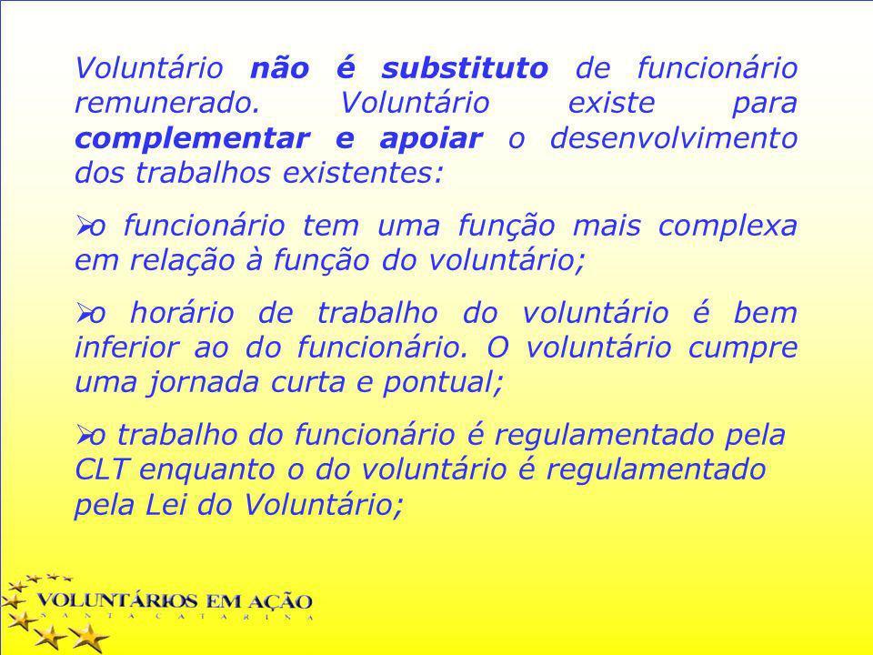 Voluntário não é substituto de funcionário remunerado