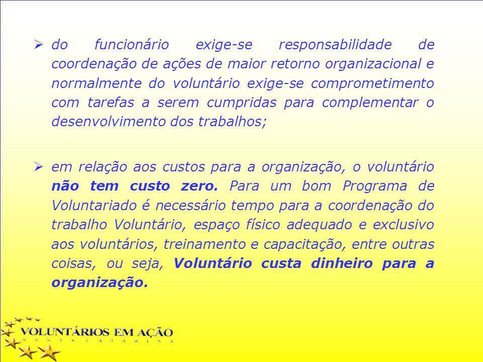do funcionário exige-se responsabilidade de coordenação de ações de maior retorno organizacional e normalmente do voluntário exige-se comprometimento com tarefas a serem cumpridas para complementar o desenvolvimento dos trabalhos;