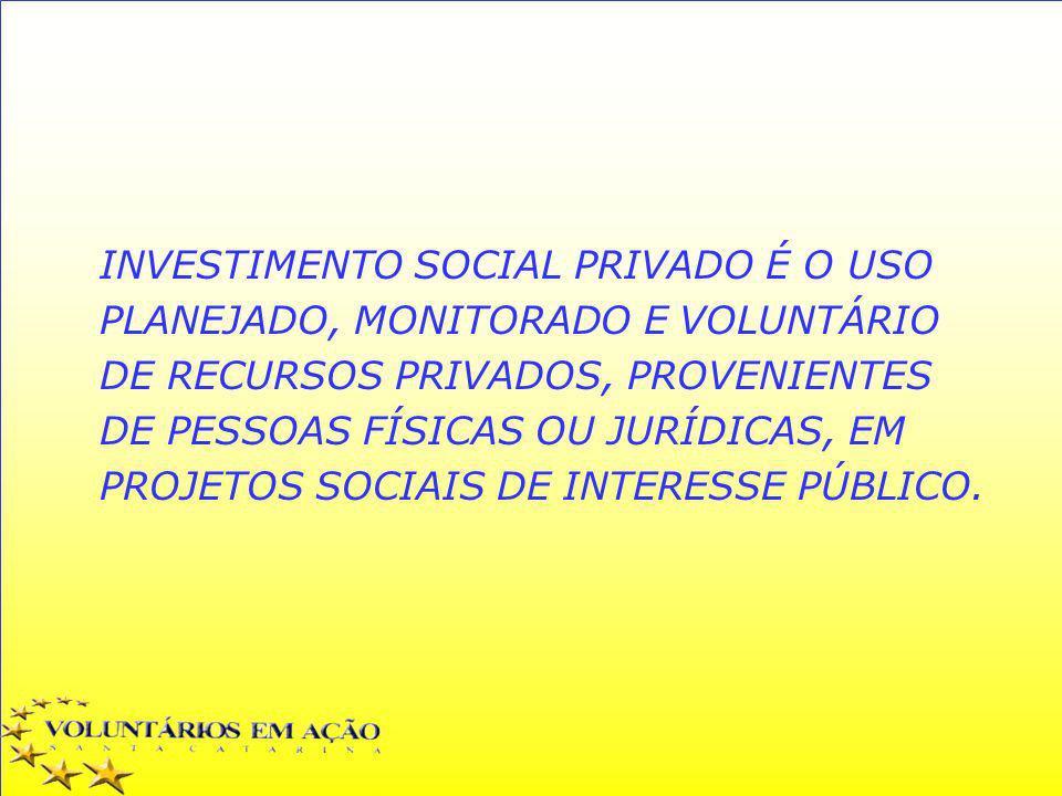 INVESTIMENTO SOCIAL PRIVADO É O USO