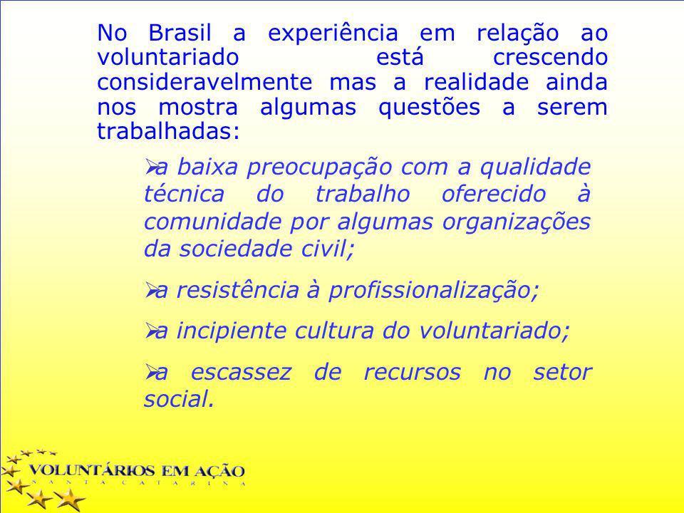 No Brasil a experiência em relação ao voluntariado está crescendo consideravelmente mas a realidade ainda nos mostra algumas questões a serem trabalhadas: