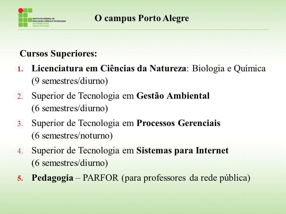 O campus Porto Alegre Cursos Superiores: Licenciatura em Ciências da Natureza: Biologia e Química (9 semestres/diurno)