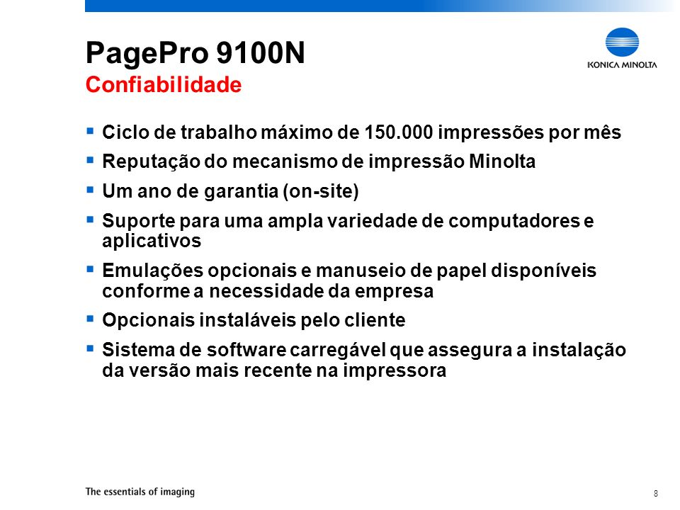 PagePro 9100N Confiabilidade
