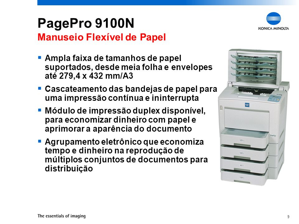 PagePro 9100N Manuseio Flexível de Papel