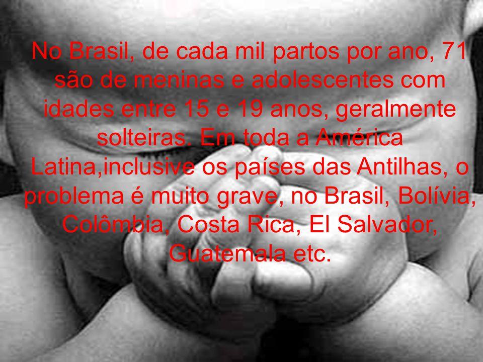 No Brasil, de cada mil partos por ano, 71 são de meninas e adolescentes com idades entre 15 e 19 anos, geralmente solteiras.