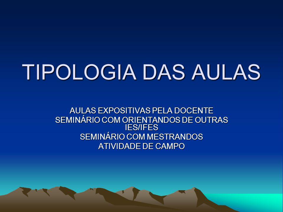 TIPOLOGIA DAS AULAS AULAS EXPOSITIVAS PELA DOCENTE