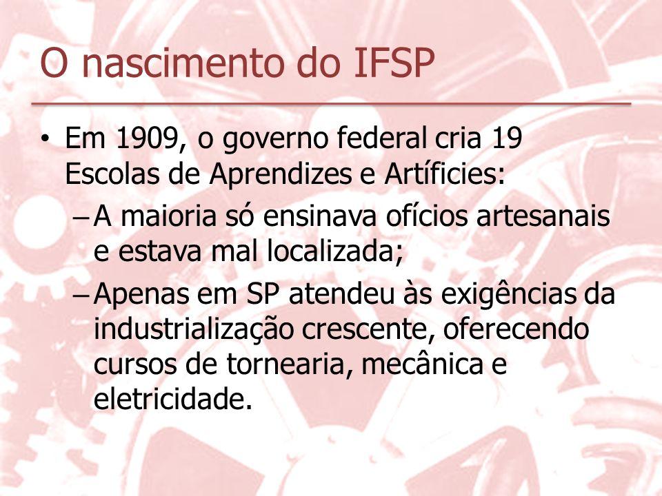 O nascimento do IFSP Em 1909, o governo federal cria 19 Escolas de Aprendizes e Artíficies: