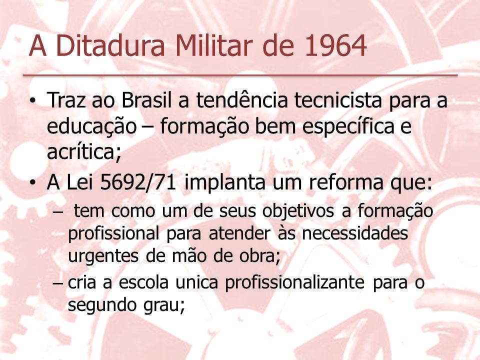 A Ditadura Militar de 1964 Traz ao Brasil a tendência tecnicista para a educação – formação bem específica e acrítica;