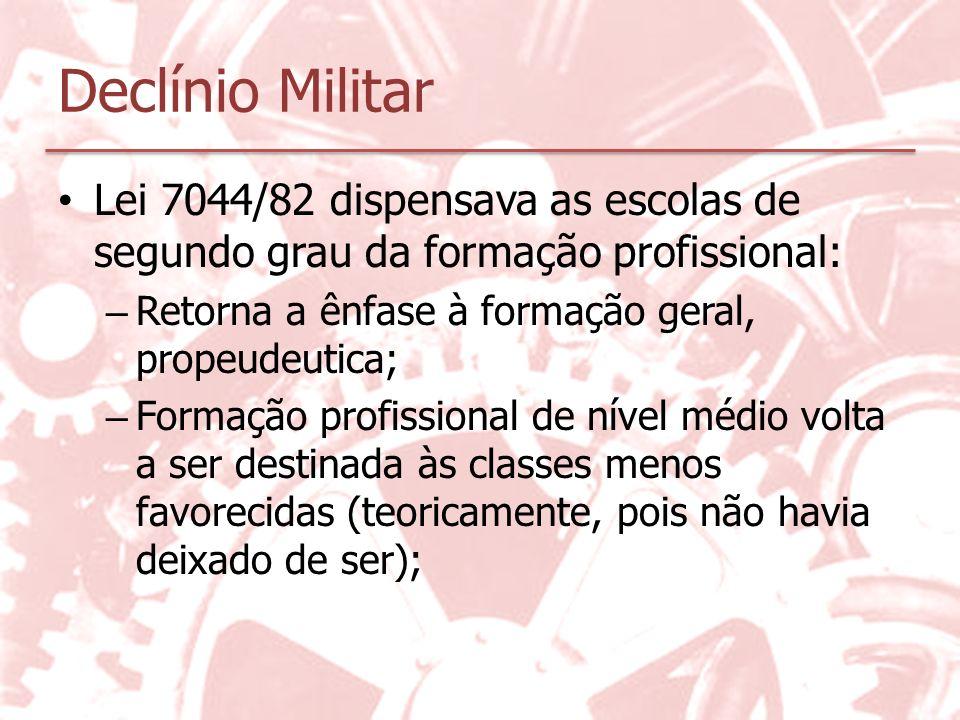Declínio Militar Lei 7044/82 dispensava as escolas de segundo grau da formação profissional: Retorna a ênfase à formação geral, propeudeutica;