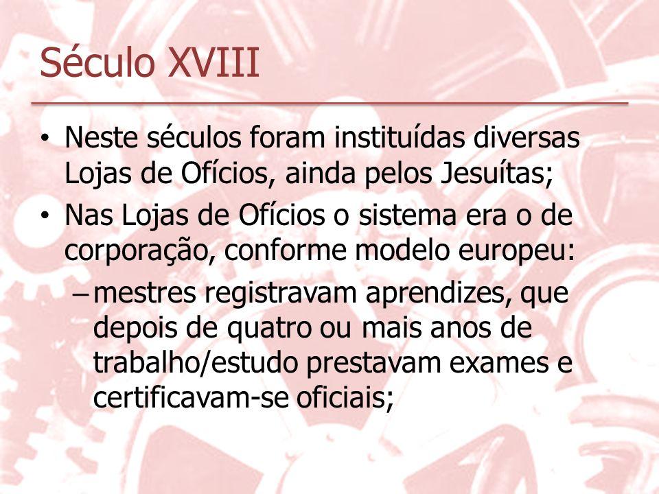 Século XVIII Neste séculos foram instituídas diversas Lojas de Ofícios, ainda pelos Jesuítas;