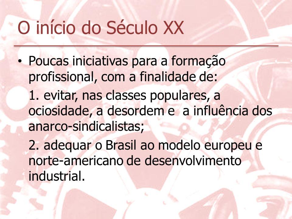 O início do Século XX Poucas iniciativas para a formação profissional, com a finalidade de: