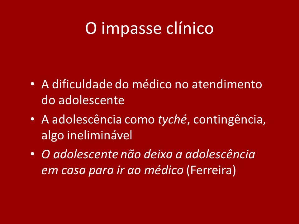 O impasse clínico A dificuldade do médico no atendimento do adolescente. A adolescência como tyché, contingência, algo ineliminável.
