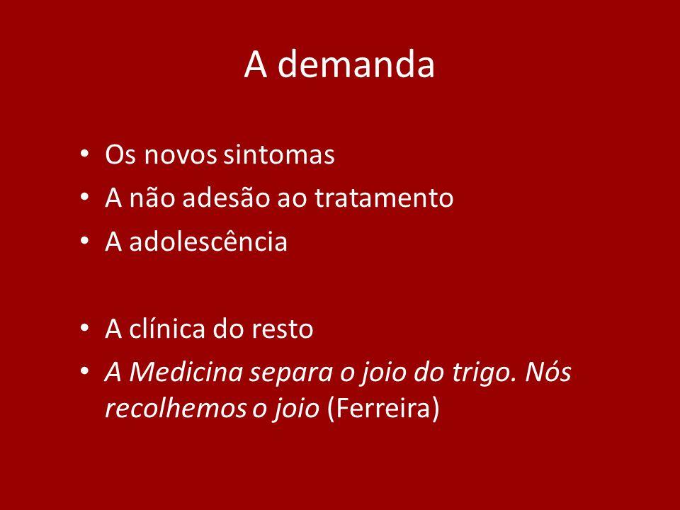 A demanda Os novos sintomas A não adesão ao tratamento A adolescência