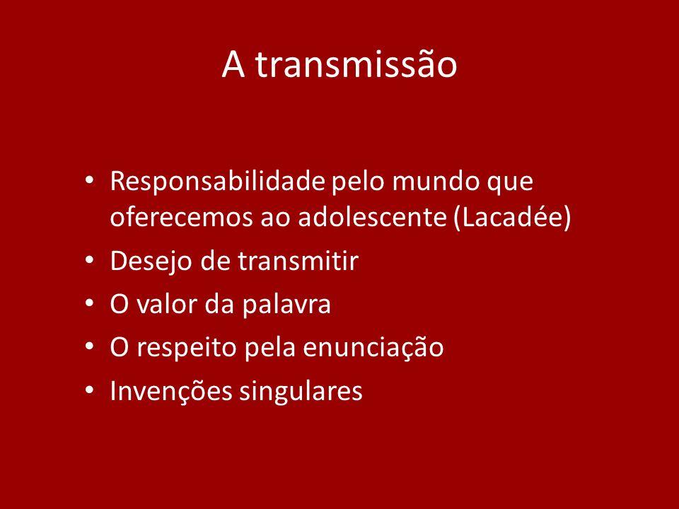 A transmissão Responsabilidade pelo mundo que oferecemos ao adolescente (Lacadée) Desejo de transmitir.
