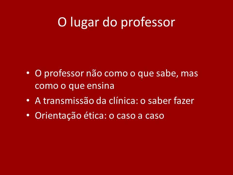 O lugar do professor O professor não como o que sabe, mas como o que ensina. A transmissão da clínica: o saber fazer.