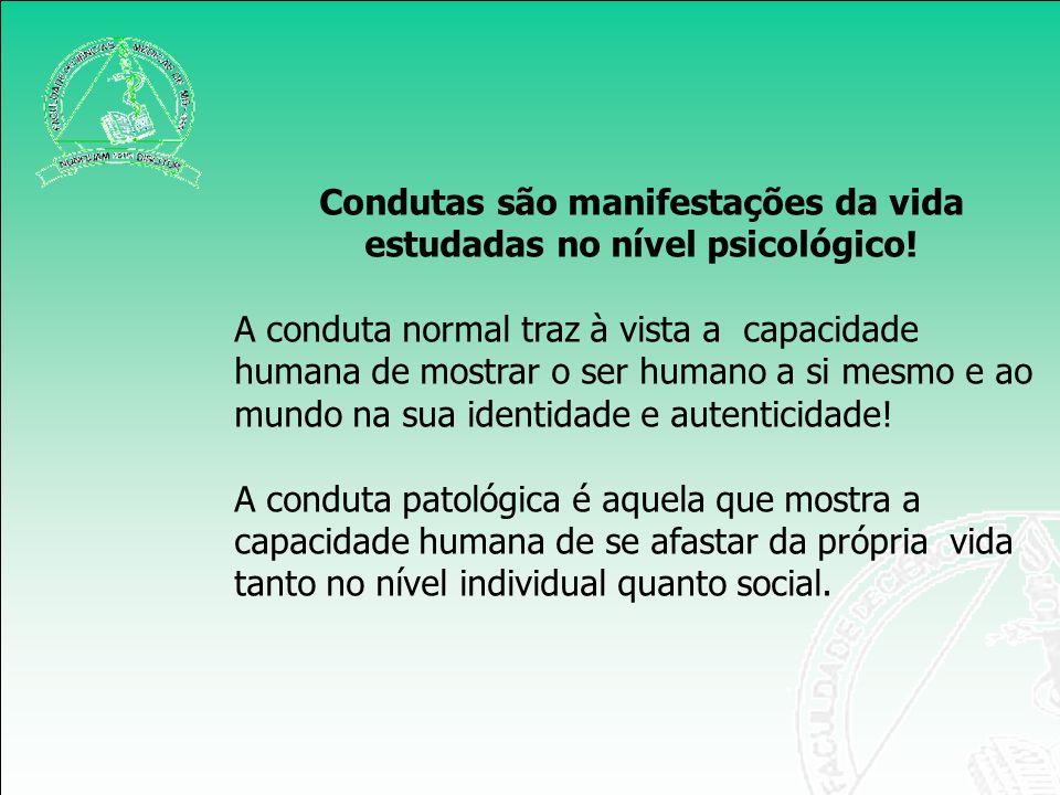 Condutas são manifestações da vida estudadas no nível psicológico!