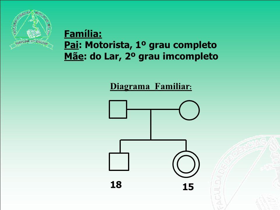 Família: Pai: Motorista, 1º grau completo Mãe: do Lar, 2º grau imcompleto Diagrama Familiar: 18 15