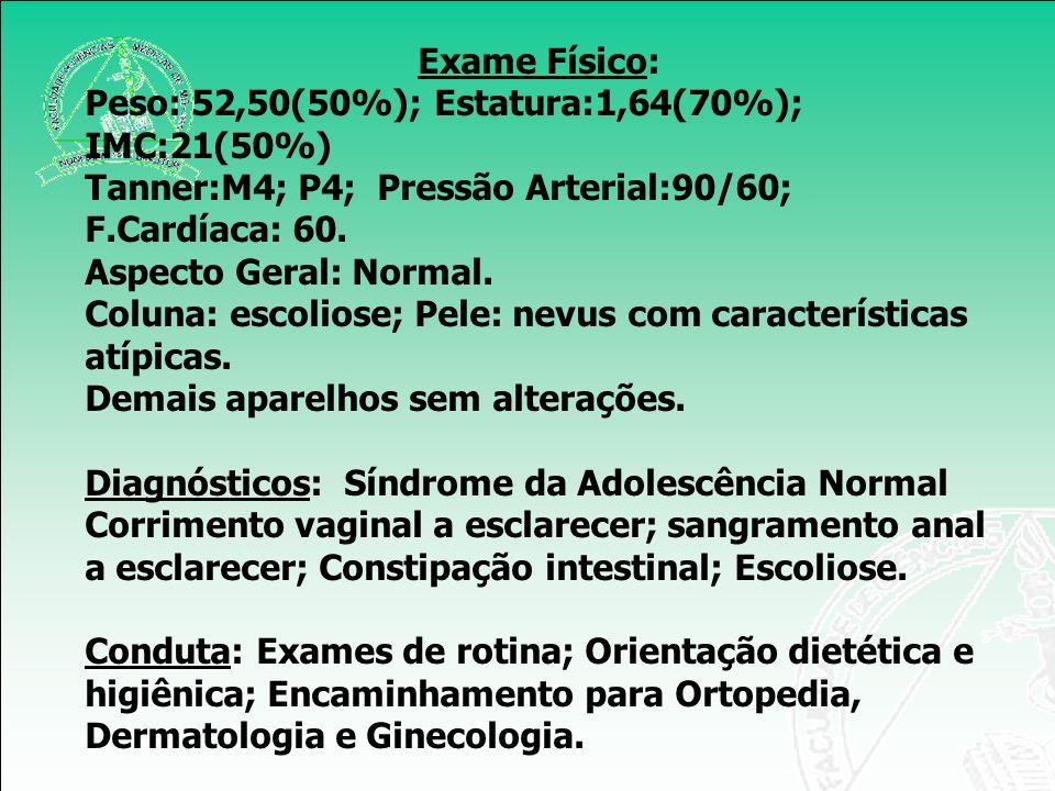 Exame Físico: Peso: 52,50(50%); Estatura:1,64(70%); IMC:21(50%) Tanner:M4; P4; Pressão Arterial:90/60; F.Cardíaca: 60.