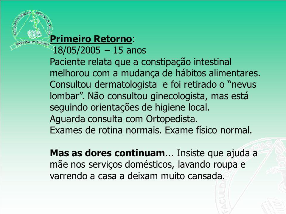 Primeiro Retorno: 18/05/2005 – 15 anos. Paciente relata que a constipação intestinal melhorou com a mudança de hábitos alimentares.
