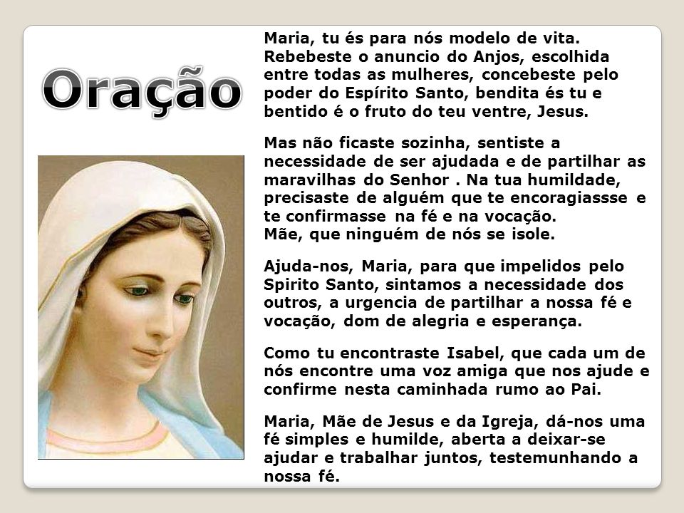 Oração Maria, tu és para nós modelo de vita.