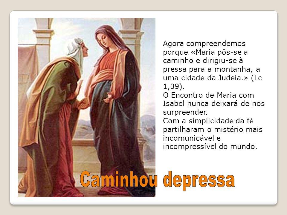 Agora compreendemos porque «Maria pôs-se a caminho e dirigiu-se à pressa para a montanha, a uma cidade da Judeia.» (Lc 1,39).