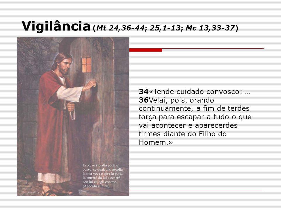 Vigilância (Mt 24,36-44; 25,1-13; Mc 13,33-37)