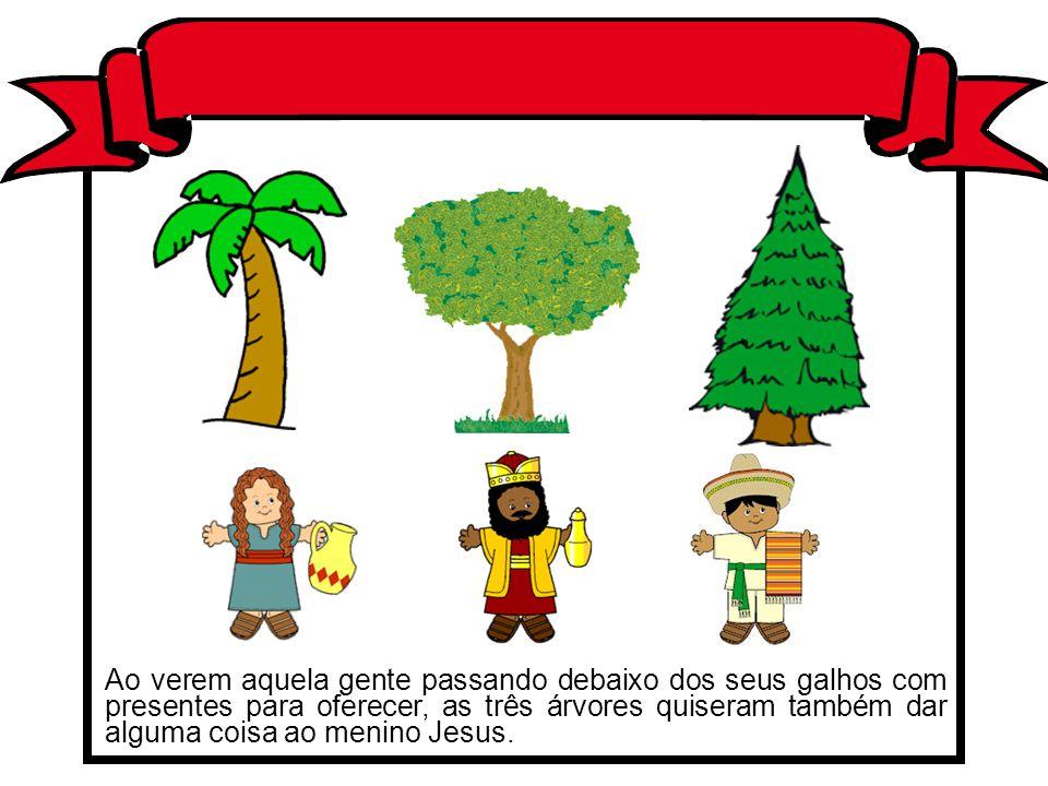 Ao verem aquela gente passando debaixo dos seus galhos com presentes para oferecer, as três árvores quiseram também dar alguma coisa ao menino Jesus.
