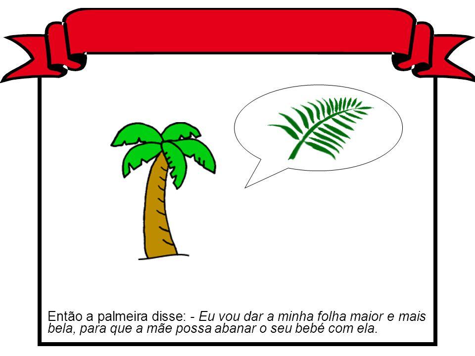 Então a palmeira disse: - Eu vou dar a minha folha maior e mais bela, para que a mãe possa abanar o seu bebé com ela.