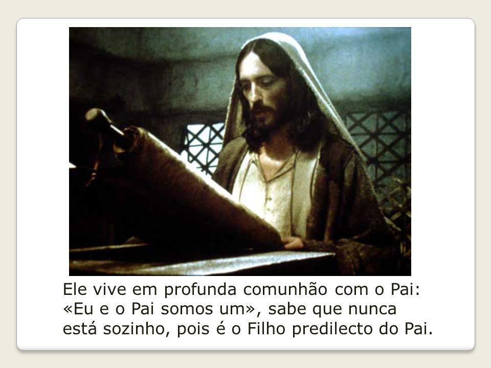 Ele vive em profunda comunhão com o Pai: «Eu e o Pai somos um», sabe que nunca está sozinho, pois é o Filho predilecto do Pai.