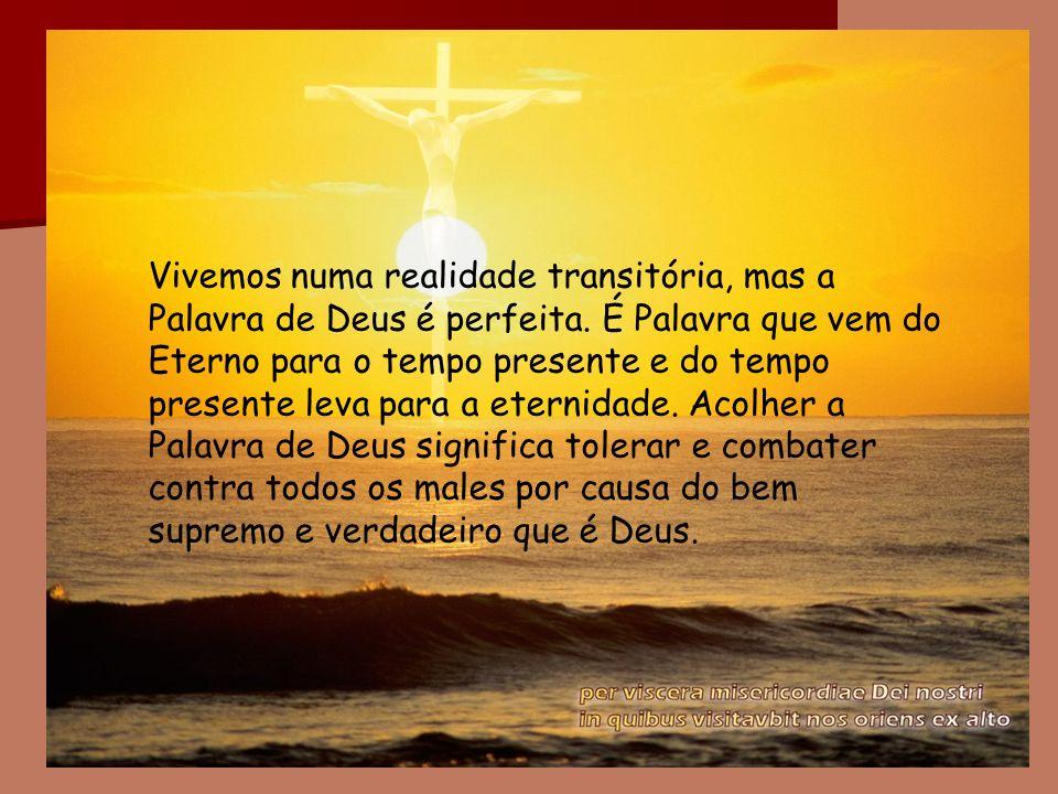 Vivemos numa realidade transitória, mas a Palavra de Deus é perfeita