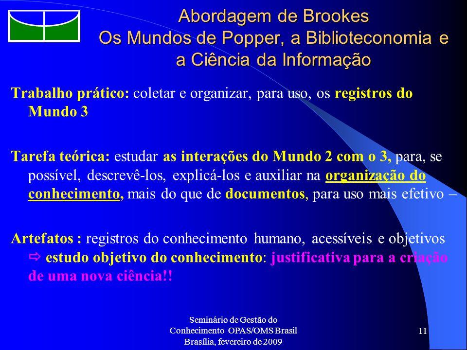 Abordagem de Brookes Os Mundos de Popper, a Biblioteconomia e a Ciência da Informação