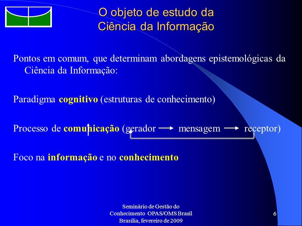 O objeto de estudo da Ciência da Informação