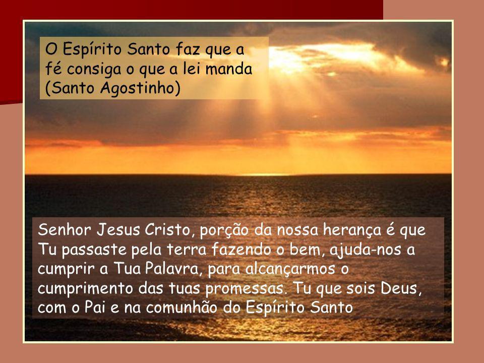 O Espírito Santo faz que a fé consiga o que a lei manda (Santo Agostinho)