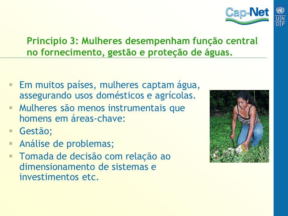 Princípio 3: Mulheres desempenham função central no fornecimento, gestão e proteção de águas.