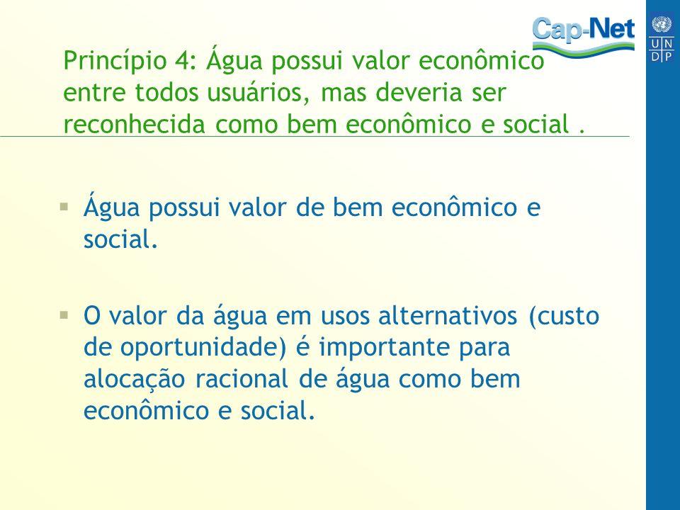 Princípio 4: Água possui valor econômico entre todos usuários, mas deveria ser reconhecida como bem econômico e social .