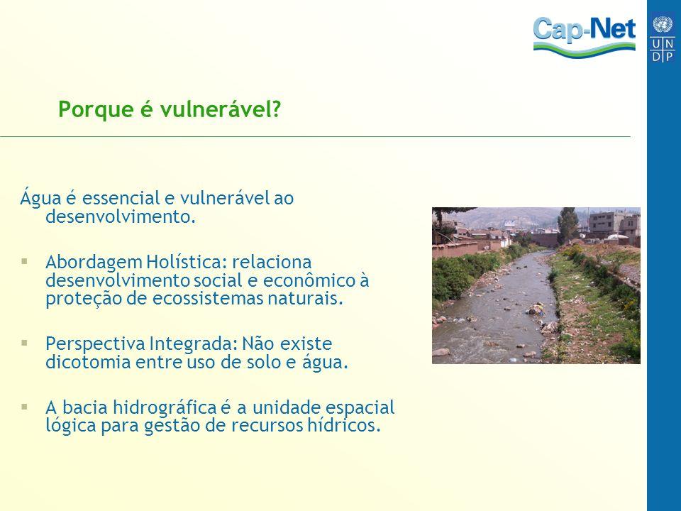 Porque é vulnerável Água é essencial e vulnerável ao desenvolvimento.
