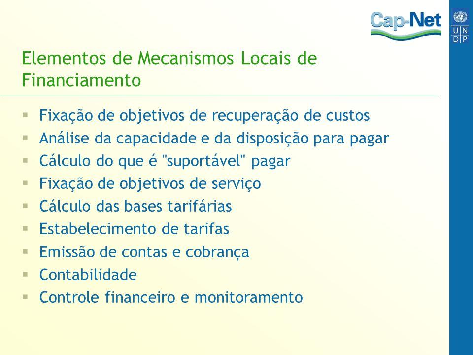 Elementos de Mecanismos Locais de Financiamento
